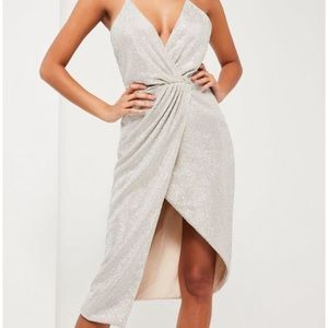 Misguided silver wrap dress